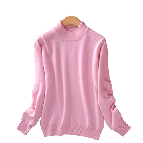Always Pretty Women's Slim Mock Neck Wool Knit Jumper Sweater Tops Pullover Pink L