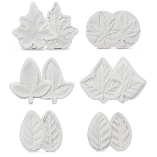 6Pcs/lot Flower Leaves Veiner Shape Soap Cupcake Making Mold,Silicone Baking Moulds Fondant Cake Moulds,Fondant Brim Cake Decorating Tools Sugarcraft Decoration Supplies Pasty Chocolate Baking Mold