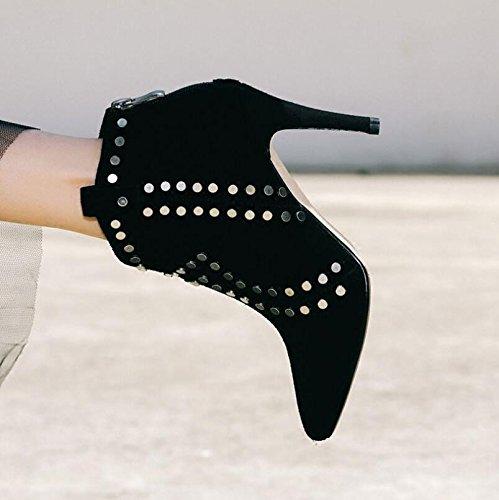 KHSKX-High-Heeled Stiefel Mit Dem Herbst Und Winter Weibliche Neue Spitze Nieten Matt Blanken Stiefel Kunstleder Einzelne Schuhe 38