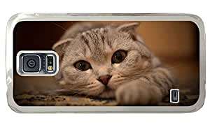 Hipster Samsung Galaxy S5 Case top cover cute cat eyes PC Transparent for Samsung S5