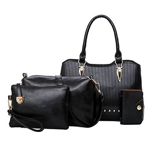 Cuatro Bolso Remaches Decoración Piezas Mujer De Black Bag Zll Women's 4Hq7E0