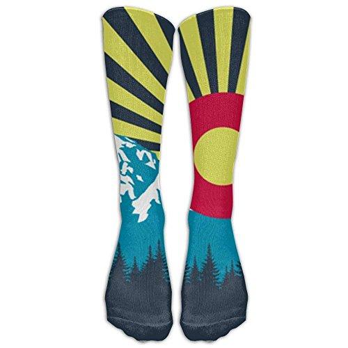 Colorado Flag Socks for Men & Women, Design Multi Colorful Patterned Stockings -