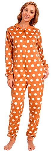 Body Candy Women's Adult Christmas Fleece Hooded Onesie Pajama (Reindeer Brown, Medium)