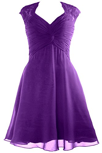 MACloth Women Halter Lace Short Bridesmaid Dress Wedding Party Cocktail Gown (EU38, Gris)