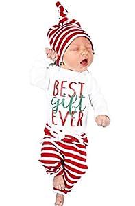 BANGELY Xmas 3Pcs Set Newborn Baby Girl Boy Letters Print Top Romper+Pants+Hat Outfits