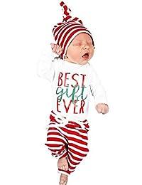 SUPEYA Baby Girls Boys Letter Print Top Romper+Stripe Pants Hat Outfit 3PCS Set