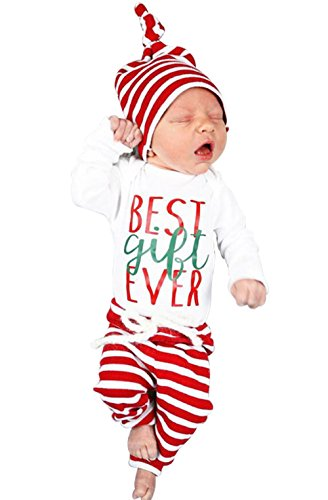 Xmas 3Pcs Set Newborn Baby Girl Boy Letters Print Top Romper+Pants+Hat Outfits Size 3-6Months/Tag70 (Red)]()