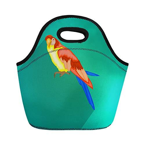 Semtomn Lunch Tote Bag Blue Animal Ara Parrot Colorful Avian Beak Beautiful Bill Reusable Neoprene Insulated Thermal Outdoor Picnic Lunchbox for Men Women