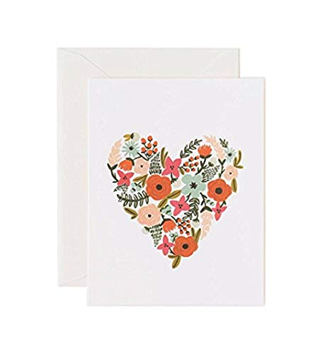 Floral Heart Card - Valentine Floral Heart Note Cards by Rifle Paper Co. -- Set of 8 Cards