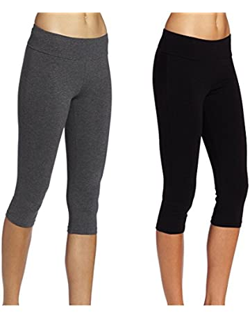 ebe587be88 ABUSA Cotton Yoga Capri Pants Women's Tummy Control Workout Leggings Non  See-Through Fabric