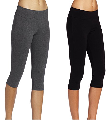 ABUSA Cotton Yoga Capri Pants Women's Tummy Control Workout Leggings Non See-Through Fabric XL ()