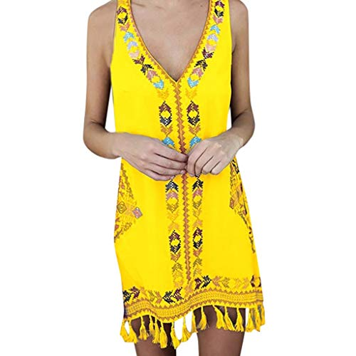 ASOBIMONO Women's Bohemia T Shirt Dresses Vintage Floral V-Neck Sleeveless Tassel Holiday Summer Beach Mini Dress Yellow