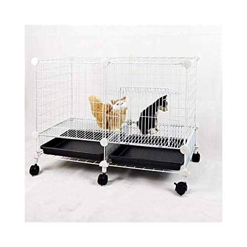 KXBYMX-11 Dog cage Small Dog cat cage Double Rabbit cage Villa Three-Layer pet Fence Teddy cage with Toilet Wheel Safety Fence (Color : White) ()