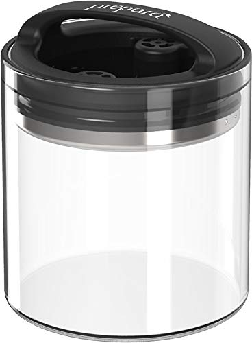 Best PREMIUM Airtight Storage Container for Coffee Beans, Tea and Dry Goods - EVAK - Innovation that Works by Prepara, Glass and Stainless, Compact Soft Touch Black Handle, Small
