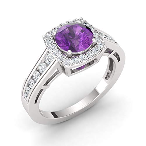 Diamondere Natural and Certified Amethyst and Diamond Engagement Ring in 14K White Gold | 1.35 Carat Halo Ring for Women, US Size 9