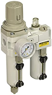 "PneumaticPlus SAU3010M-N03G-MEP 2 Piece Compressed Air Filter Regulator Lubricator Combination, 3/8"" Pipe Size, NPT-Manual Drain, Metal Bowl, 10 ?m with Gauge"