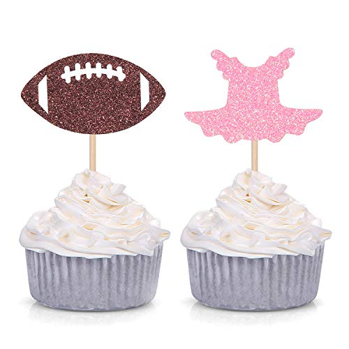 Tutu or Football Cupcake Toppers for Gender Reveal Party Decorations 24 Counts]()