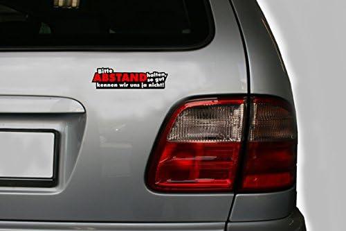 easydruck24de 1 Sticker Bitte Abstand halten I kfz/_112 I 16 x 4,5 cm gro/ß I Auto-Aufkleber Wohnwagen Mofa Roller mit Spruch lustig wetterfest