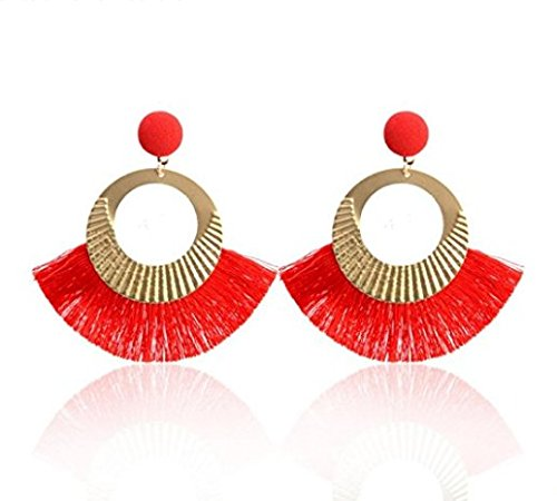 Hwiionne Fashion Bohemian Tassel Earrings Drop Earrings Eardrop for Women