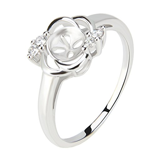 Womens 1PCS 925 Sterling Silver Pearl Ring Accessories Mounting Fitting (6) ()