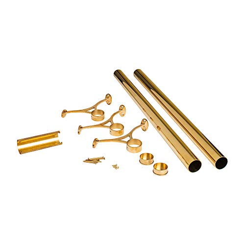 - Outwater 8' Bar Foot Rail Kit - Complete Undercounter Mount Hardware and Tubing, Brass Finish