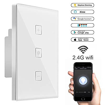 Smart Wifi Light Dimmer Switch, Dimmer Switches Touch In-wall Wireless Plate Switch [Timing Function, APP Remote Control and Voice Control] Compatible with Alexa Smartphone Google Assistant