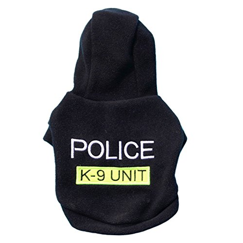 OOEOO Pet Dog Hoodie Fashion Costume Puppy Fleece T-Shirt Police K-9 Unit Sweater (Black, -