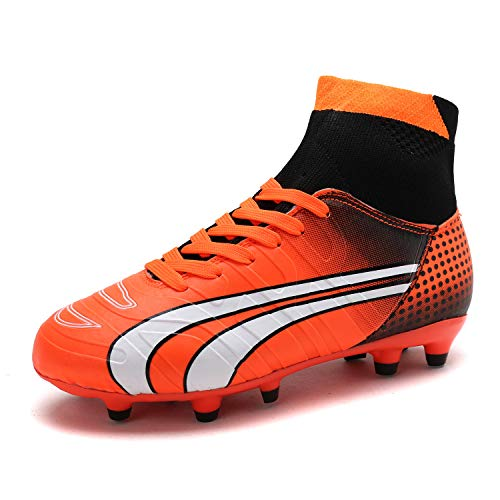 eb52f399b57 DREAM PAIRS Little Kid 160862-K Orange Black White Soccer Football Cleats  Shoes - 2 M US Little Kid