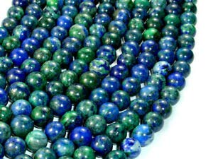 Azurite Malachite Beads, 8mm (8.5 mm) Round Beads, 15.5 Inch (129054005) Crafting Key Chain Bracelet Necklace Jewelry Accessories Pendants