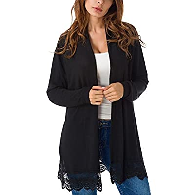 Myobe Women's Elegant Black Lacy Splicing Sweater Cardigan Long Sleeve Open Front Knitted Cardigan Plus Size Cover Up at Women's Clothing store