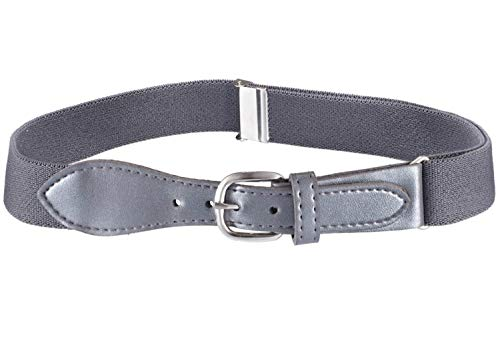 Kids Elastic Adjustable Belt with Leather Closure - Grey ()