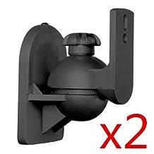 2 Universal Speaker Wall / Ceiling Mount Mounting Bracket for Satellite Speakers (Max 7.7Lbs, Black)