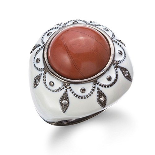 Jasper Cocktail Ring - Black Rhodium Plated Silver Red Jasper Cocktail Ring With White Enamel