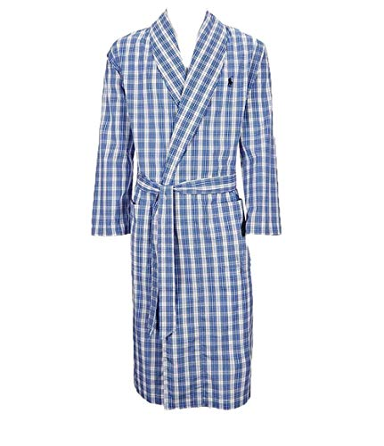 (Polo Ralph Lauren Mens Oxford PJ Robe (Plaid Blue White, Small/Medium))