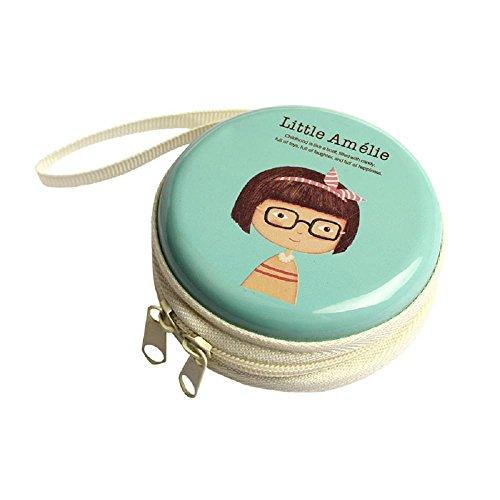 Leoy88 Mini Cute Earphone Headphone SD Card Bag Box Carrying Pouch Storage (Blue 1)