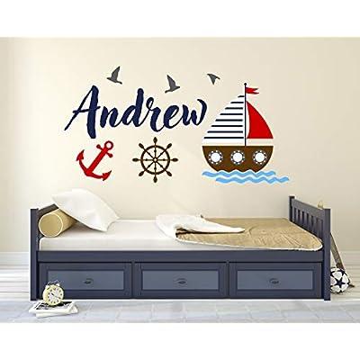 Custom Nautical Name Wall Decal - Bunny Room Decor - Nursery Wall Decals - Sailboat Wheel Anchor Wall Mural Sticker (30