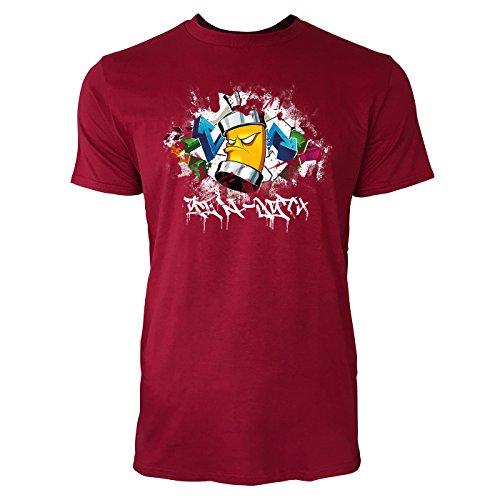SINUS ART ® Cooles Graffiti mit Sprühdose Herren T-Shirts in Independence Rot Fun Shirt mit tollen Aufdruck