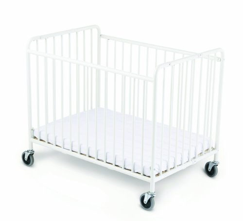 Foundations Stowaway Folding Compact Steel Crib with Foam Mattress, White