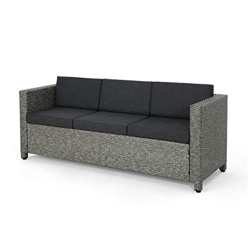 Christopher Knight Home Puerta Outdoor (PE) Wicker 3 Seater Sofa by Mix Black + Dark Grey Cushion