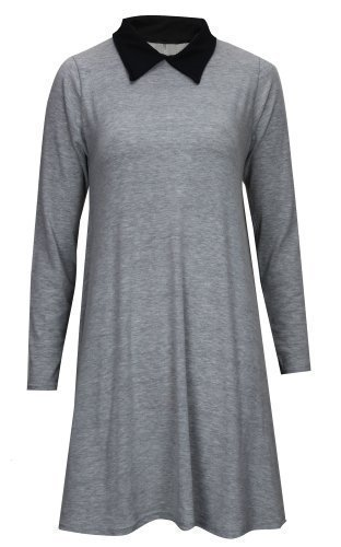 Donna Basic Vestito Light lunghe Baleza Maniche Grey 5I4w8xqa