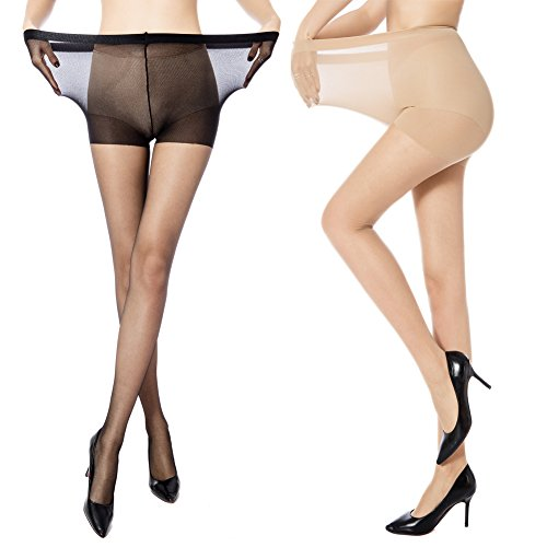 MANZI Women's 2 Pairs Plus Size Control Top Ultra-Soft Tights Size XXL (Womens Nude Opaque Pantyhose)