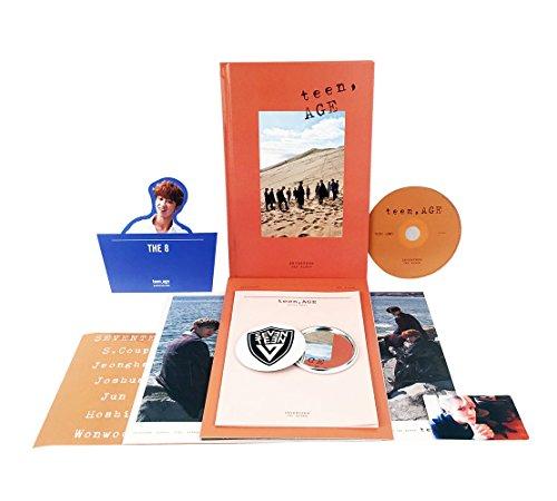 (TEEN, AGE [ ORANGE Ver. ] - SEVENTEEN 2nd Album CD + Photo Book + Photo Card + Folding Poster(ON PACK) + Lyrics Paper + Name Sticker + Portrait Desktop Stand + FREE GIFT / K-POP Sealed)
