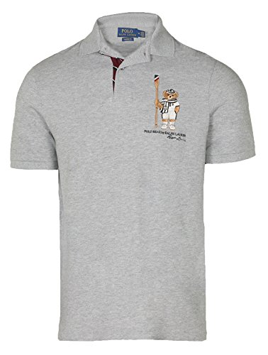 Polo Ralph Lauren Men's's Limited Polo Bear Polo Shirt-HtrGrey/Boathouse-XL (Ralph Lauren Grün Polo)