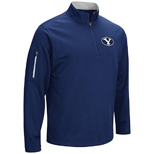 Colosseum Men's VF Poly Fleece 1/4 Zip Pullover-BYU Cougars-Navy Blue-XXL