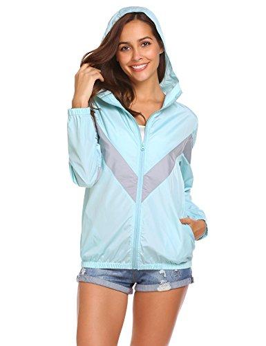 Hooded Vintage Coat (SoTeer Women's Lightweight Color Block Vintage Waterproof Hooded Raincoat Jacket Windbreaker Blue M)