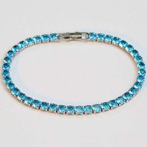- FidgetFidget Princess Gift Round Cut Titanic Ocean Blue Topaz Gems Silver Charming Bracelets