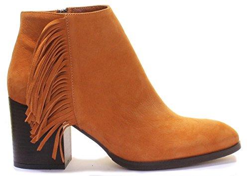 Justin Reece Womens Leather Tassel Ankle Boot Desinger Look Black Heel Camel N4S4n
