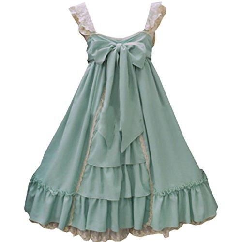 JSK Pullover Bauwolle Damen Kleider Bow Lolita Grün Rock klassische Passe Lace Partiss qx6E8qA