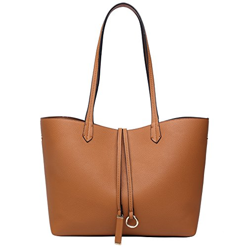 PU Leather Tote Bag Shoulder Handbag For Women Top Handle Satchel (Camel Leather Handbags)