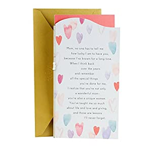 Hallmark Valentine's Day Between You and Me Greeting Card for Mom (Watercolor Hearts)